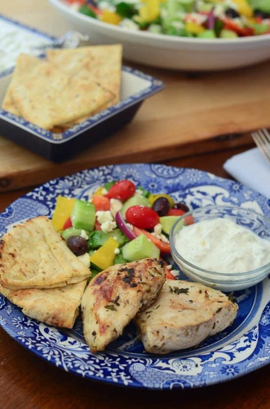 Grilled Greek Chicken with Tzatziki Sauce - From Valerie's Kitchen