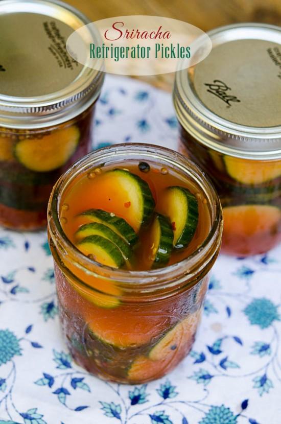 Sriracha Refrigerator Pickles - From Valerie's Kitchen