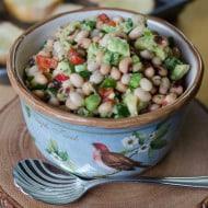 White Bean, Black-Eyed Pea, Avocado Crostini