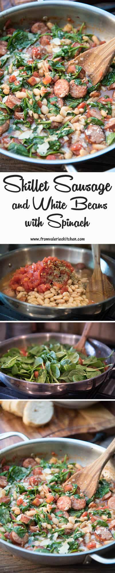 Skillet Sausage and White Beans with Spinach