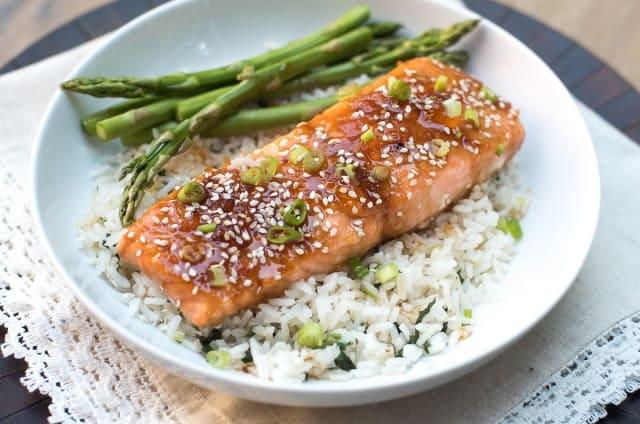 Orange Sesame Ginger Glazed Salmon