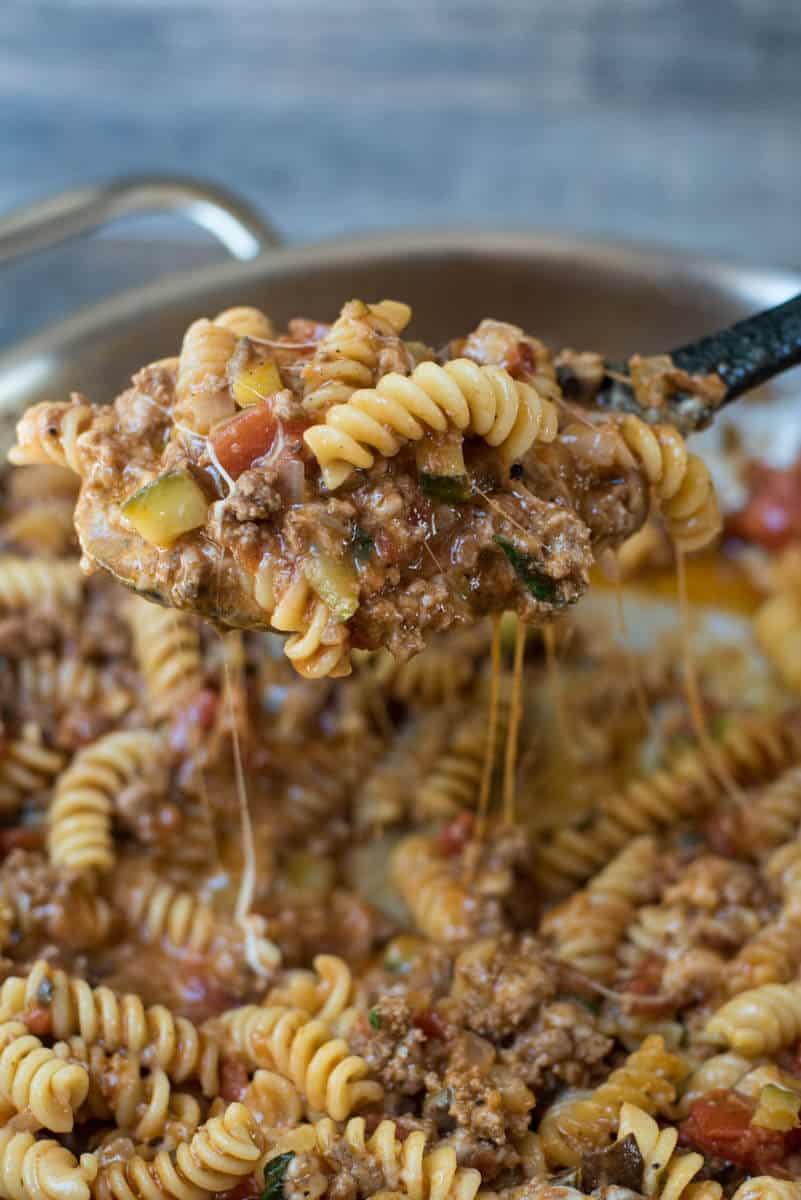Cheesy Beef Pasta Skillet