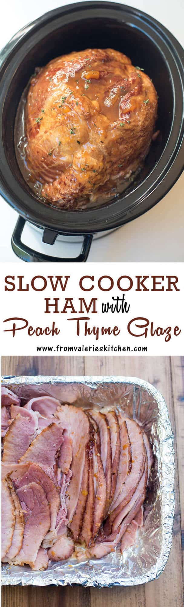 This Slow Cooker Ham with Peach Thyme Glaze cooks up incredibly tender with a sweet, tangy, smoky glaze. A great way to free up oven space on the holiday!