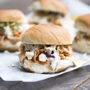Slow Cooker BBQ Buffalo Chicken Sliders