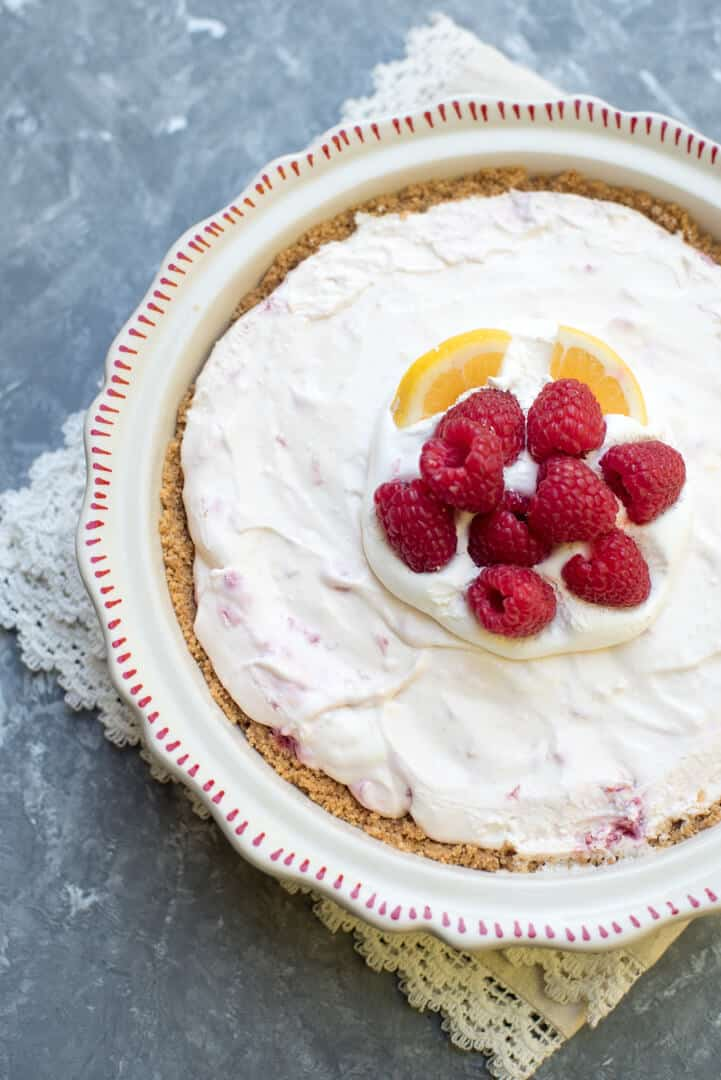 This nearly no bake Creamy Lemon Raspberry Pie is a lemony, sweet treat that is perfect for any spring or summer celebration.