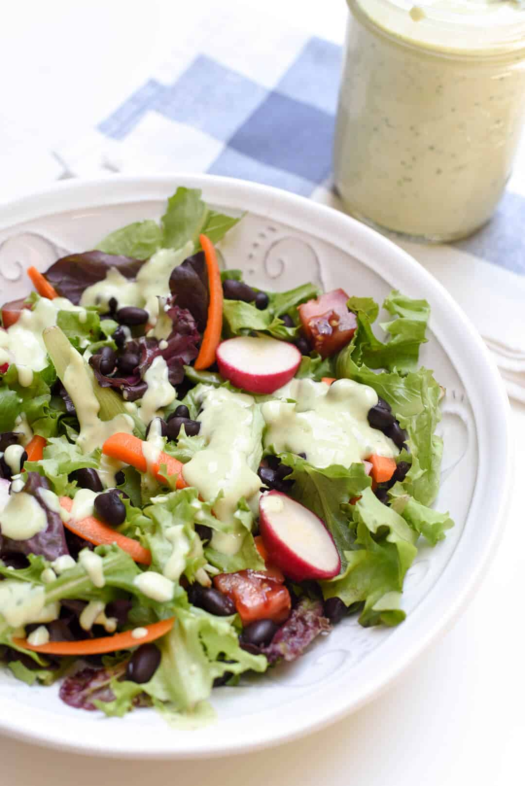 This Avocado Ranch Dressing is a healthier way to add great flavor to your summer salads. It also makes a delicious party dip or sauce for tacos or wraps.