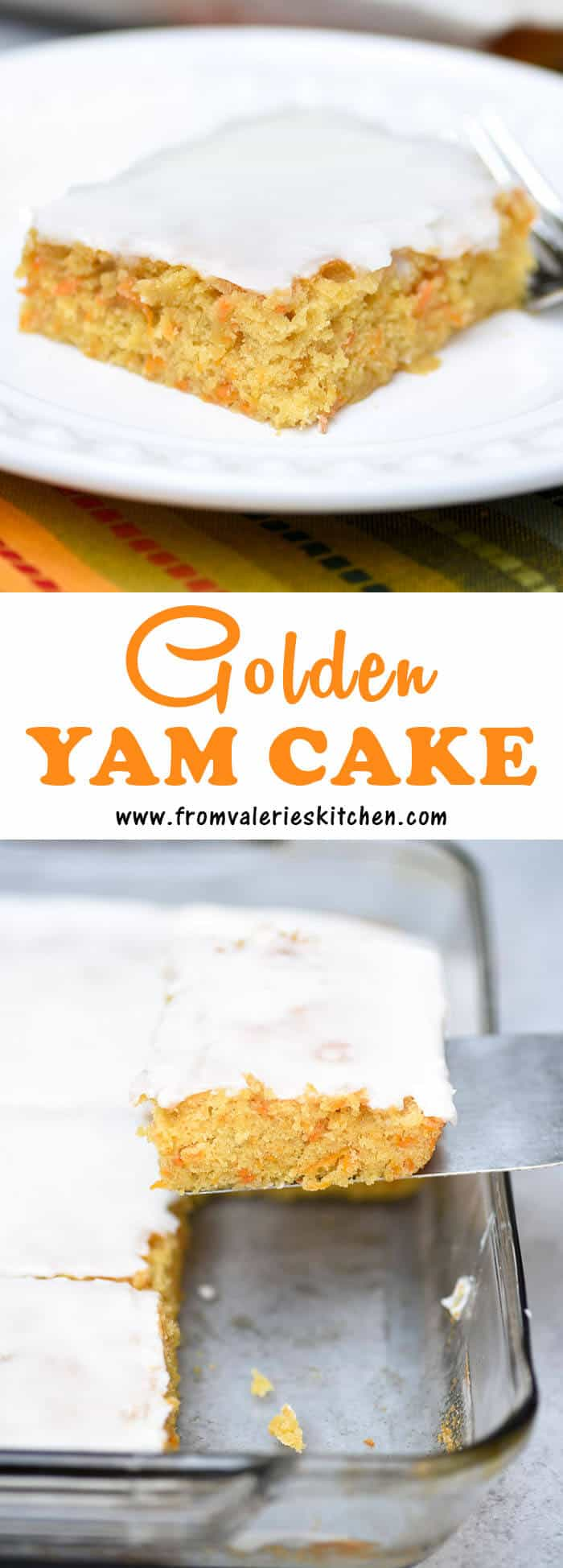 This Golden Yam Cake has an extremely moist and delicate texture and is topped with a simple powdered sugar icing that complements it perfectly.