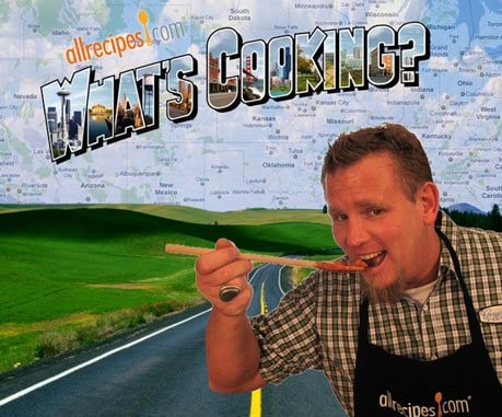 A picture of Michael Kethcum eating something off a spoon with overlay text Allrecipes.com What's Cooking.