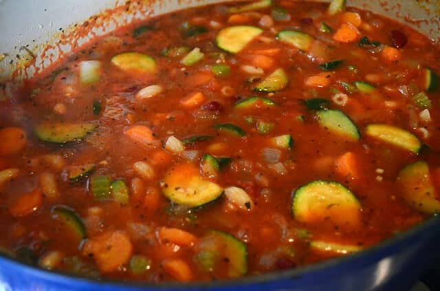 A close up of the cooked minestrone.