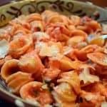 A bowl of orichette with shrimp.