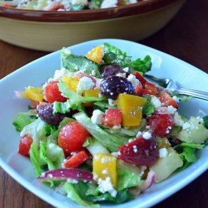 A plate of greek salad.