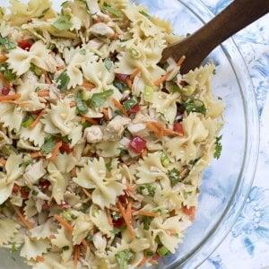 A bowl of asian pasta salad.