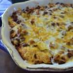 A dish of chili cornbread bake.