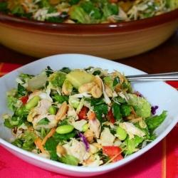 A bowl of thai chicken salad.