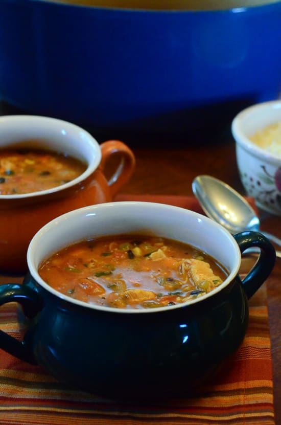 A serving of Tex-Mex Turkey Soup.