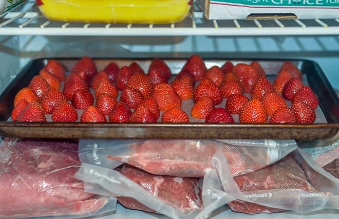 The baking sheet full of strawberries is placed into the freezer. The final step in the flash freezing process.