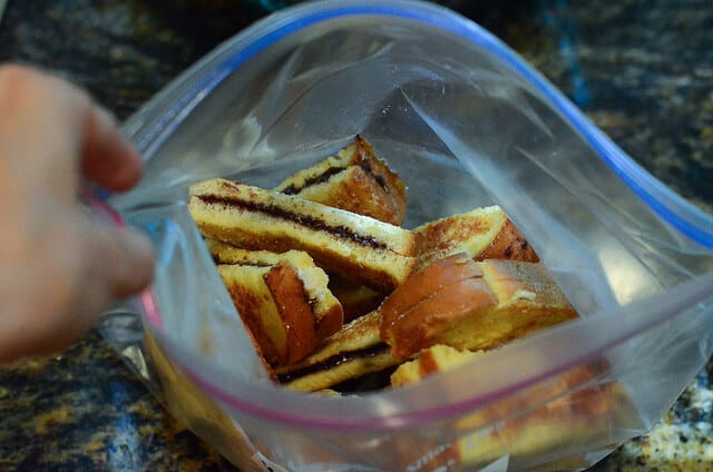 A Ziploc bag full of Nutella Stuffed French Toast Sticks.