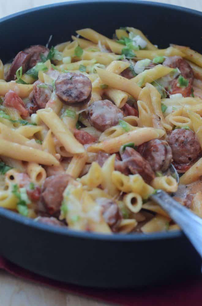 Skillet Sausage Pasta in a deep skillet.