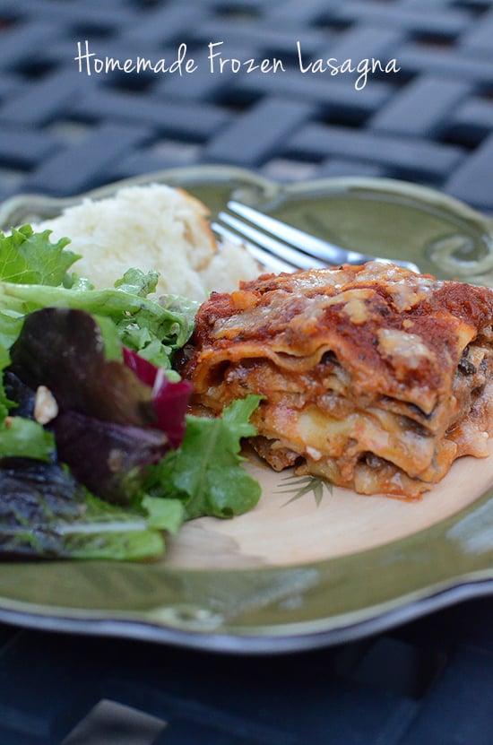 A serving of Homemade Frozen Lasagna.
