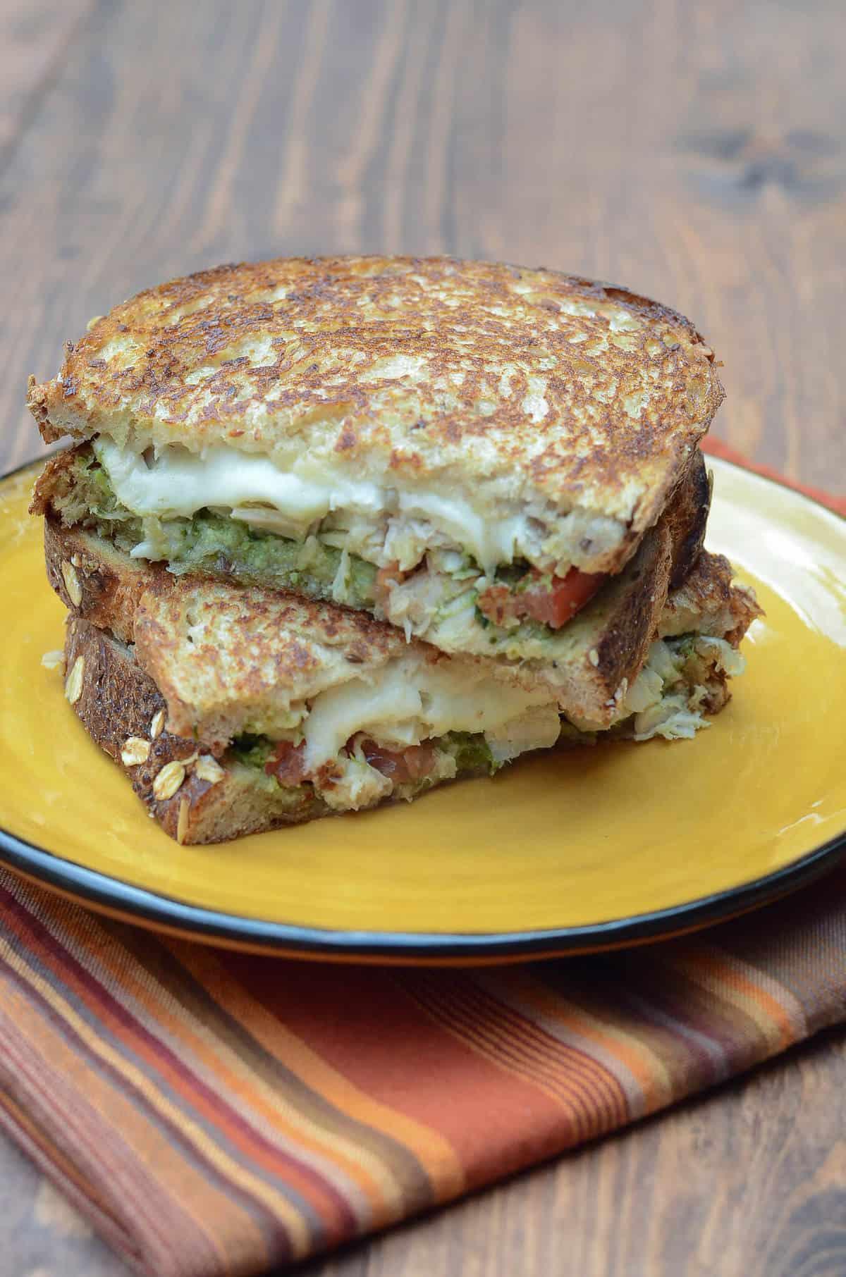 Turkey Pesto Grilled Cheese Sandwiches