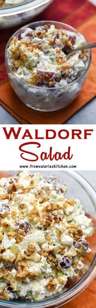 A two image vertical collage of Waldorf Salad with text overlay.