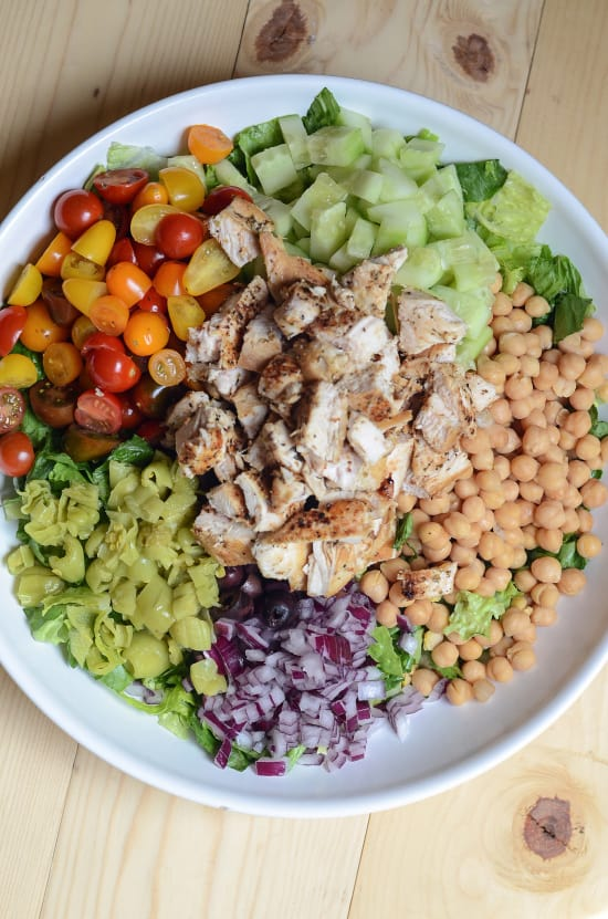 Mediterranean Chicken Chopped Salad with Creamy Feta Dill Dressing