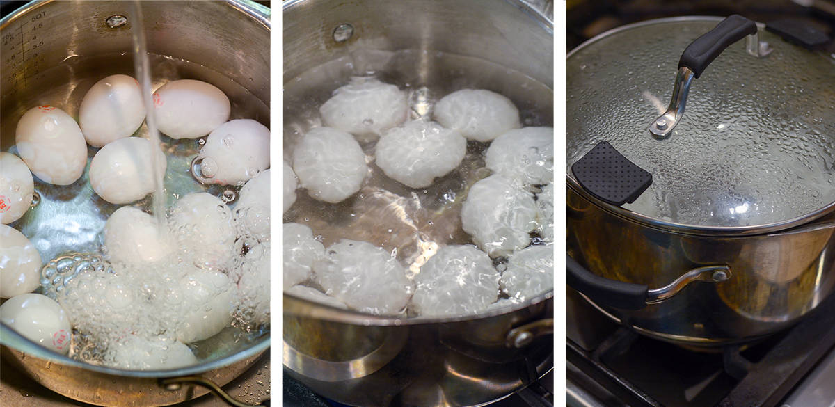 Eggs in a pot of boiling water are covered with a lid.