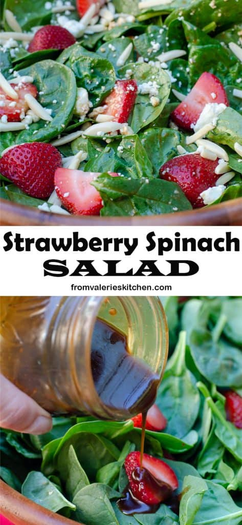 A two image vertical collage of Strawberry Spinach Salad with overlay text.