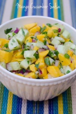 A bowl of Mango Cucumber Salsa.