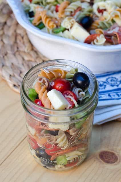 Pizza Pasta Salad in a mason jar.