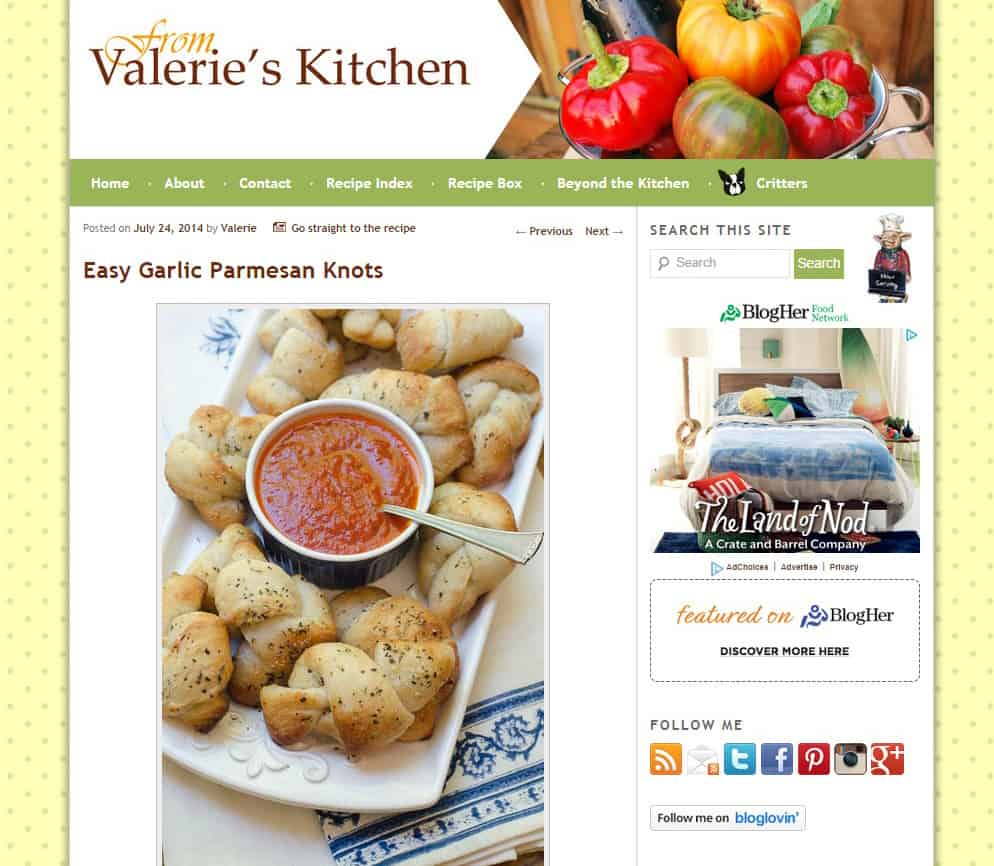 A screenshot of Valerie's Kitchen Original Site Design 2011