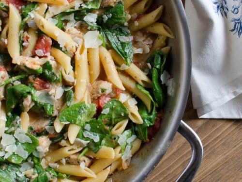 Chicken And Spinach Skillet Pasta Valerie S Kitchen