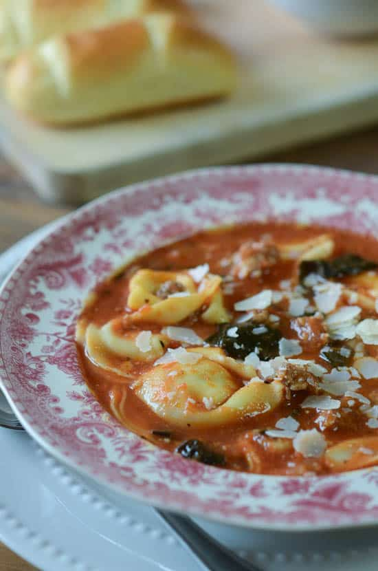 Sausage and Tortellini Soup with Kale