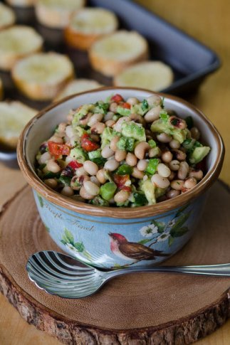 White Bean-Black-Eyed-Pea-Avocado-Crostini