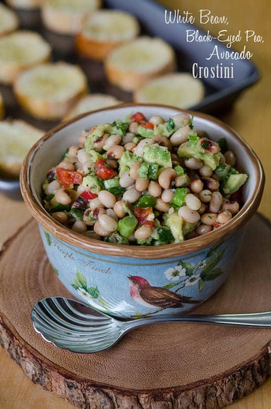 White Bean-Black-Eyed-Pea-Avocado-Crostini