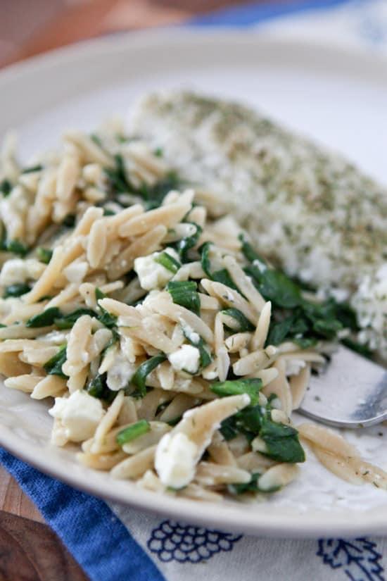 Spinach Feta Orzo