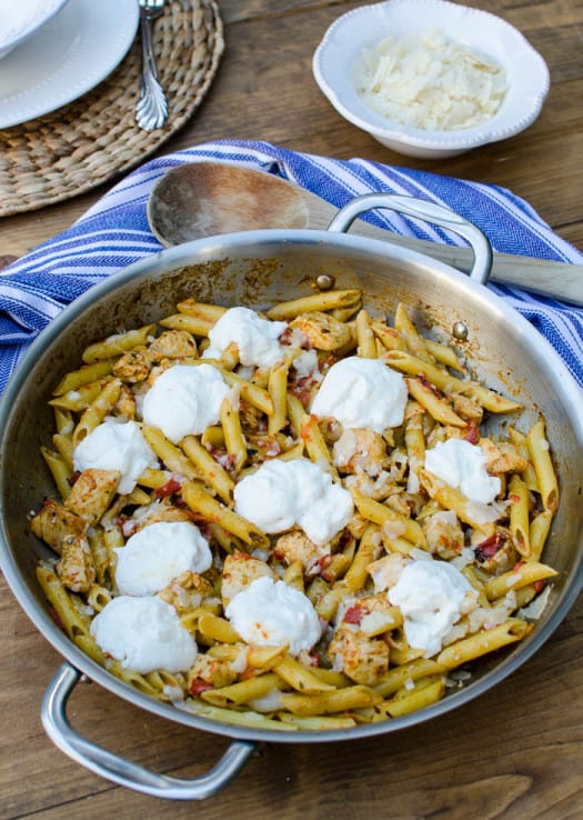 Chicken Pesto Penne with Roasted Red Peppers and Ricotta