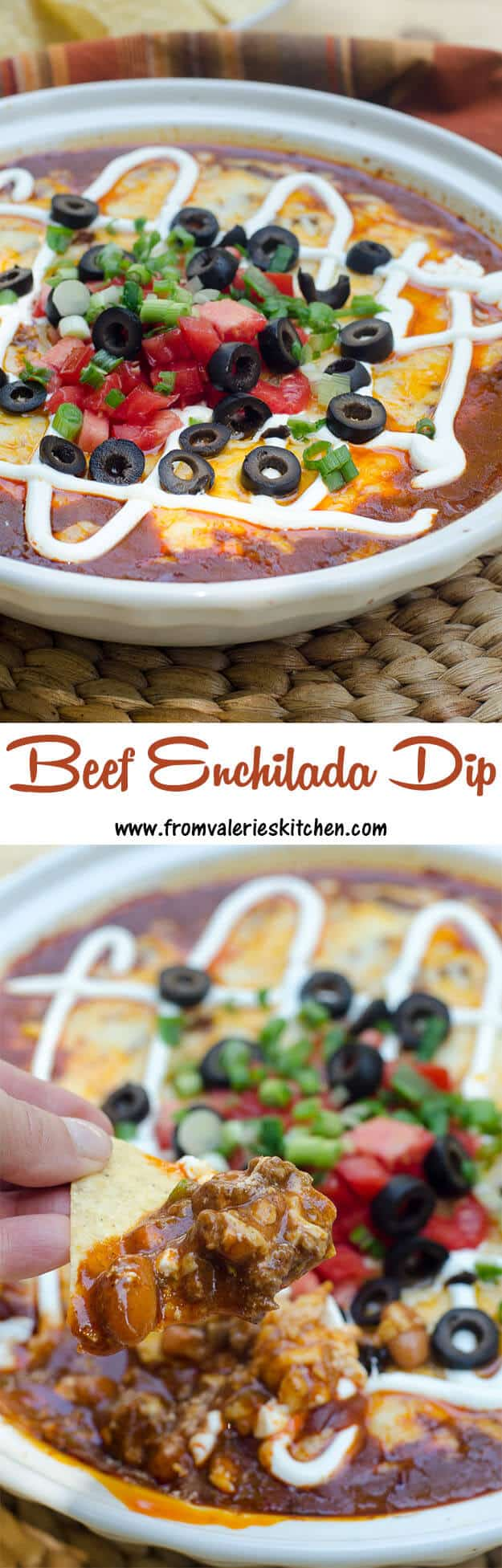 A two image vertical collage of Beef Enchilada Dip with overlay text.