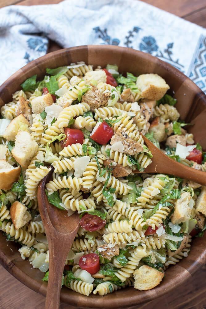 chicken caesar pasta salad valerie 39 s kitchen. Black Bedroom Furniture Sets. Home Design Ideas