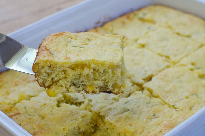 Simple ingredients dress up packaged corn muffin mix to create this super moist and flavorful Mexican Style Cornbread with a cake-like texture.
