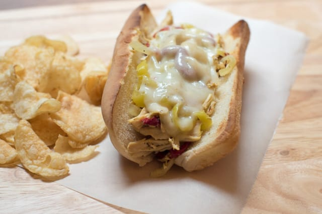 Crock-Pot Chicken Philly Cheesesteak Sandwiches