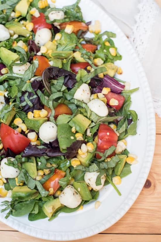 Caprese Salae with Grilled Corn and Avocado