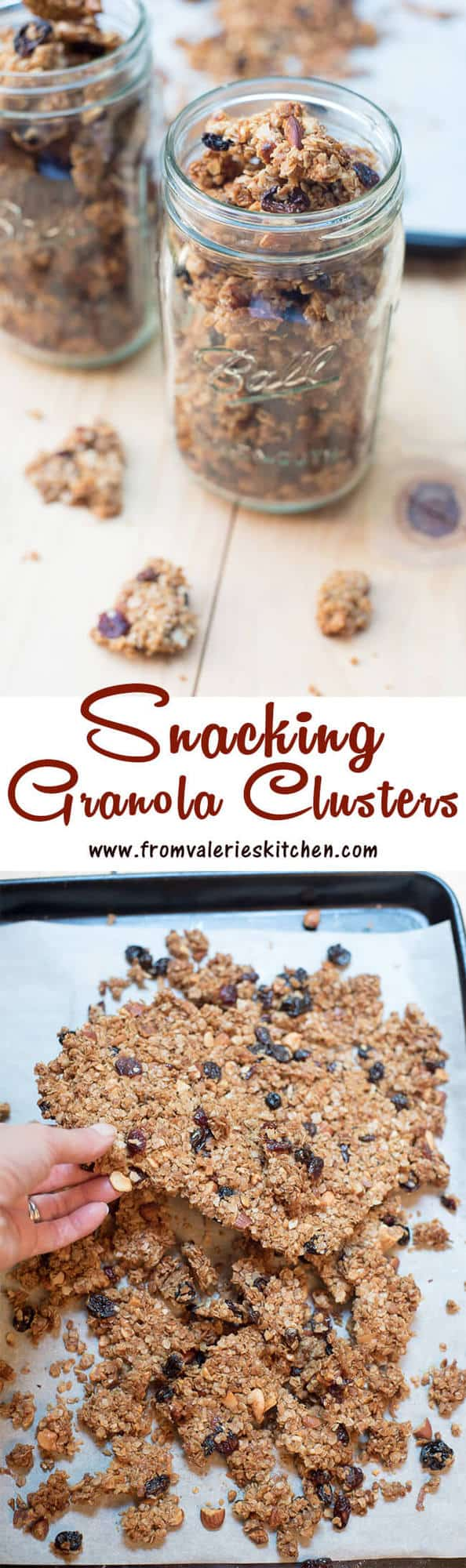 With a special baking method and some helpful tips you can make your own Snacking Granola Clusters at home! Wonderful alone or served with fruit and yogurt.