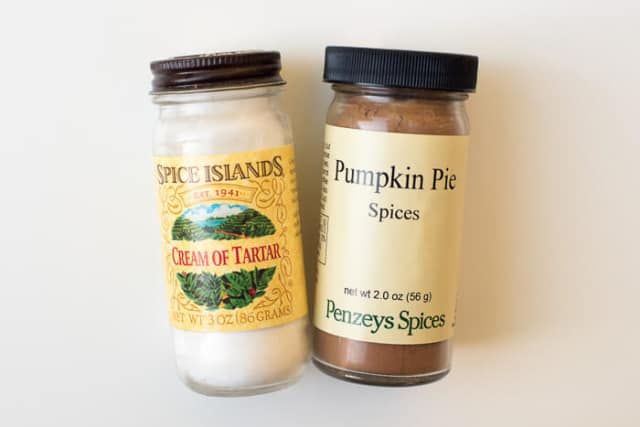 A jar of Cream of Tartar and Pumpkin Pie Spice