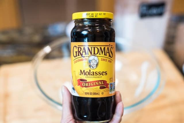 A jar of Grandma's Original Molasses