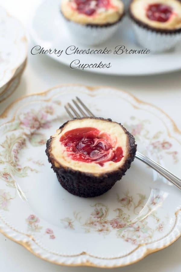 Cherry Cheesecake Brownie Cupcakes