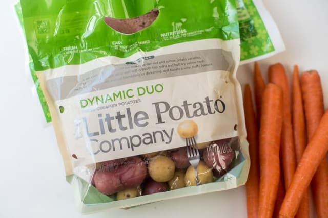 Slow Cooker Corned Beef and Cabbage - The Little Potato Company Dynamic Duo and carrots