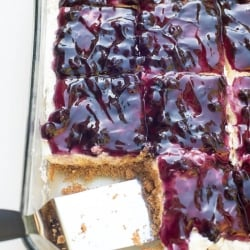 A spatula in a dish of blueberry cheesecake dessert.
