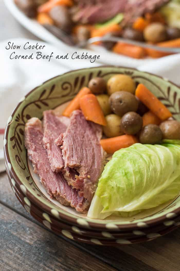 Slow Cooker Corned Beef and Cabbage in a serving bowl.