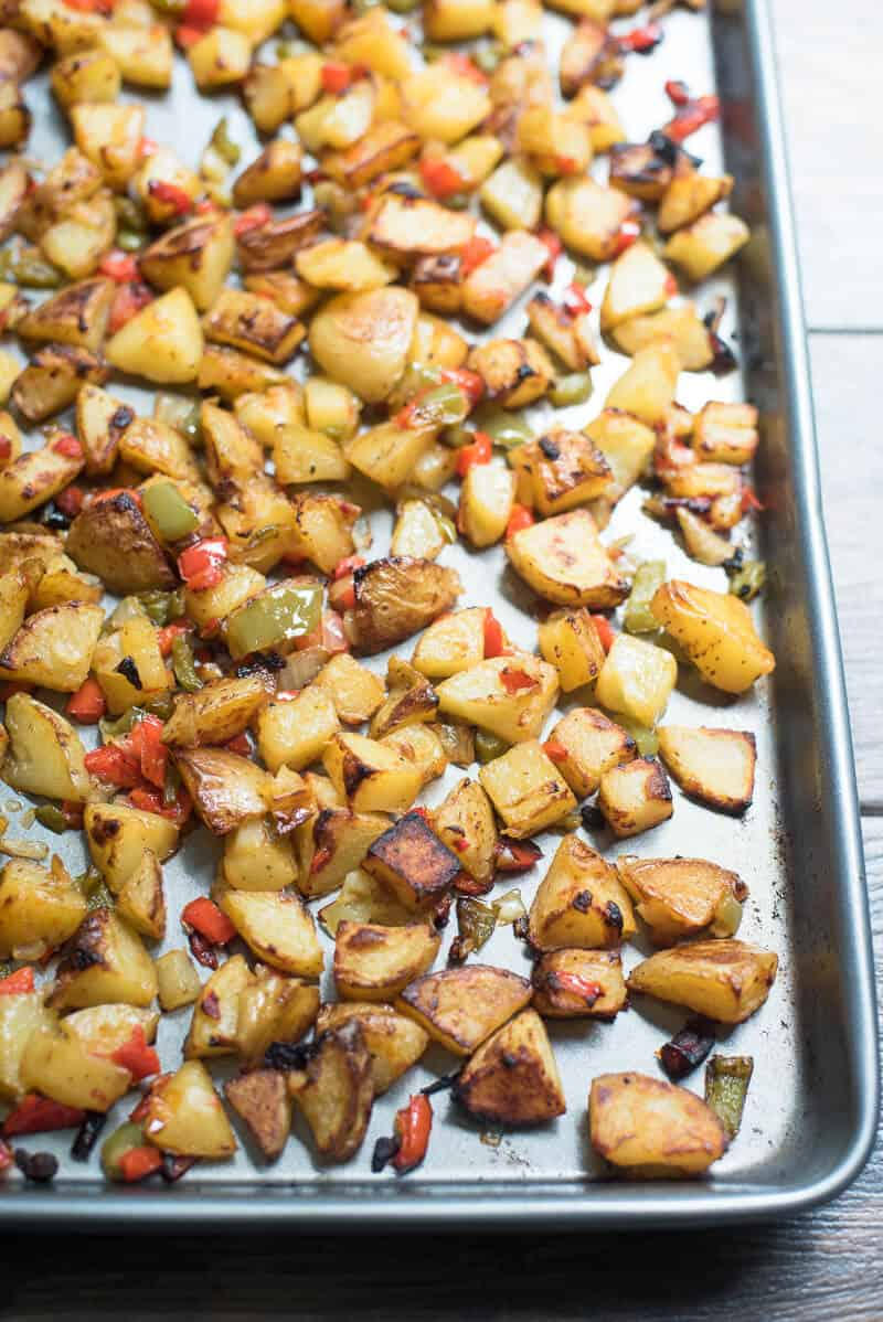 Oven Roasted Breakfast Potatoes on a baking sheet